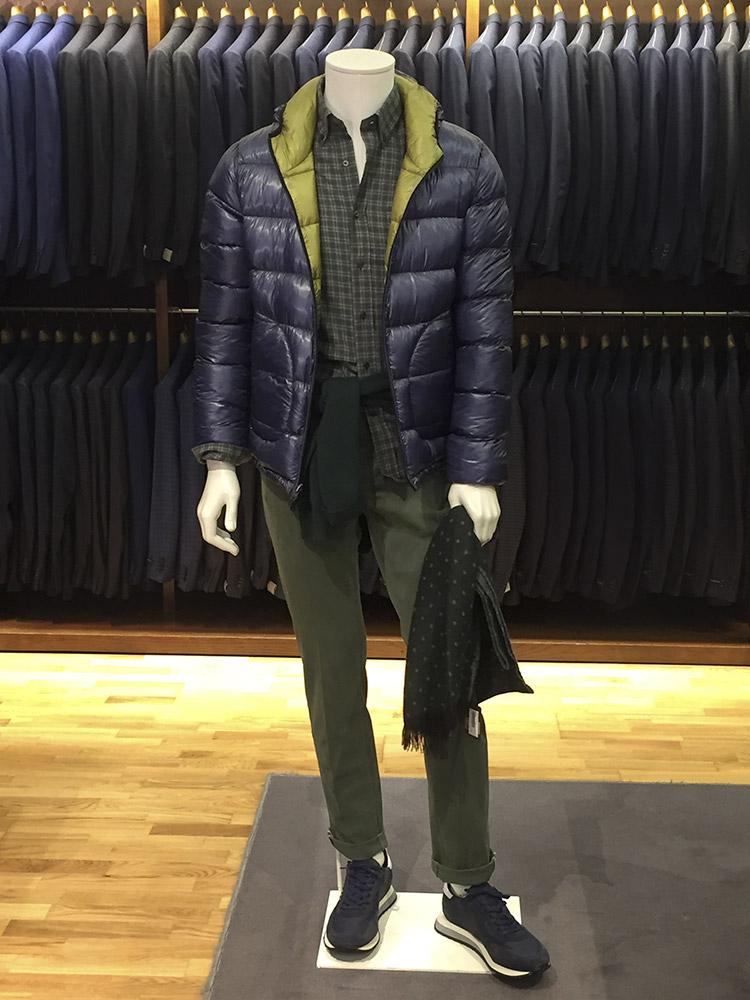 Piumino Herno Camisa Grigio Jersey Polo Ralph Lauren Foulard Altea Pantalón PT05 Sneakers Ghoud