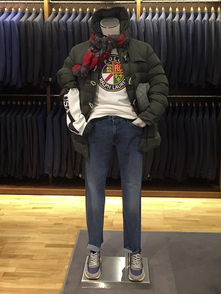 Piumino Herno Sudadera Polo Ralph Lauren Camisa Polo Ralph Lauren Visera City Bufanda Altea Jeans PT05 Sneakers Ghoud